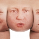 """3 cheeks of the same arse"" still. Image depicting George Galloway's description of the three main party leaders."